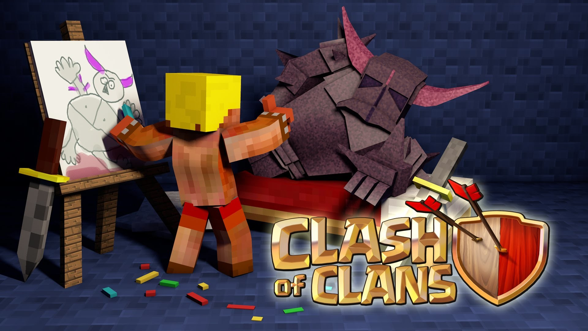 clash-of-clans-minecraft-school-pekka-barbarian