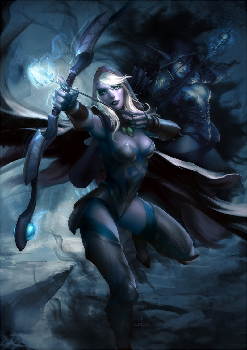 drow-ranger-shooting-arrows-blue-wallpaper