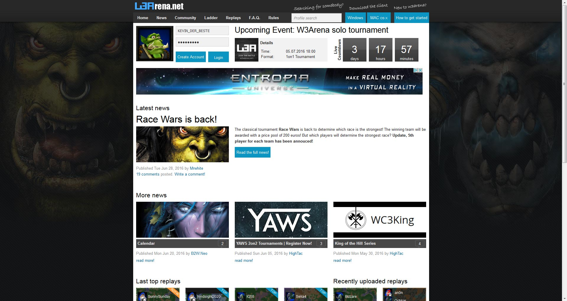 w3arena-homepage-warcraft-progamer-ladder