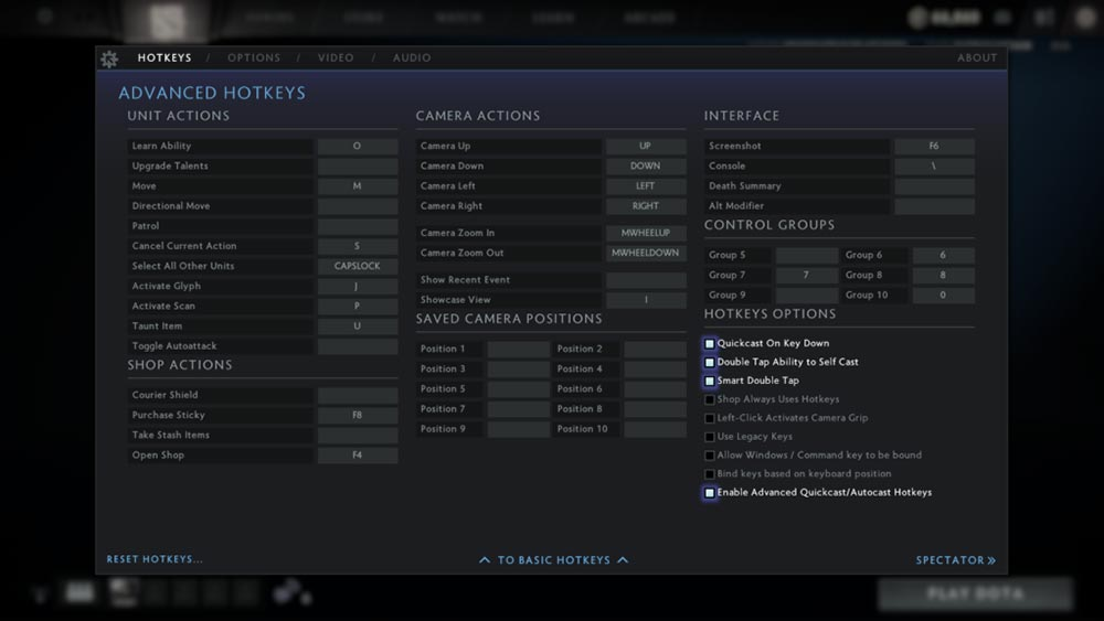 details to enable quick cast in dota 2