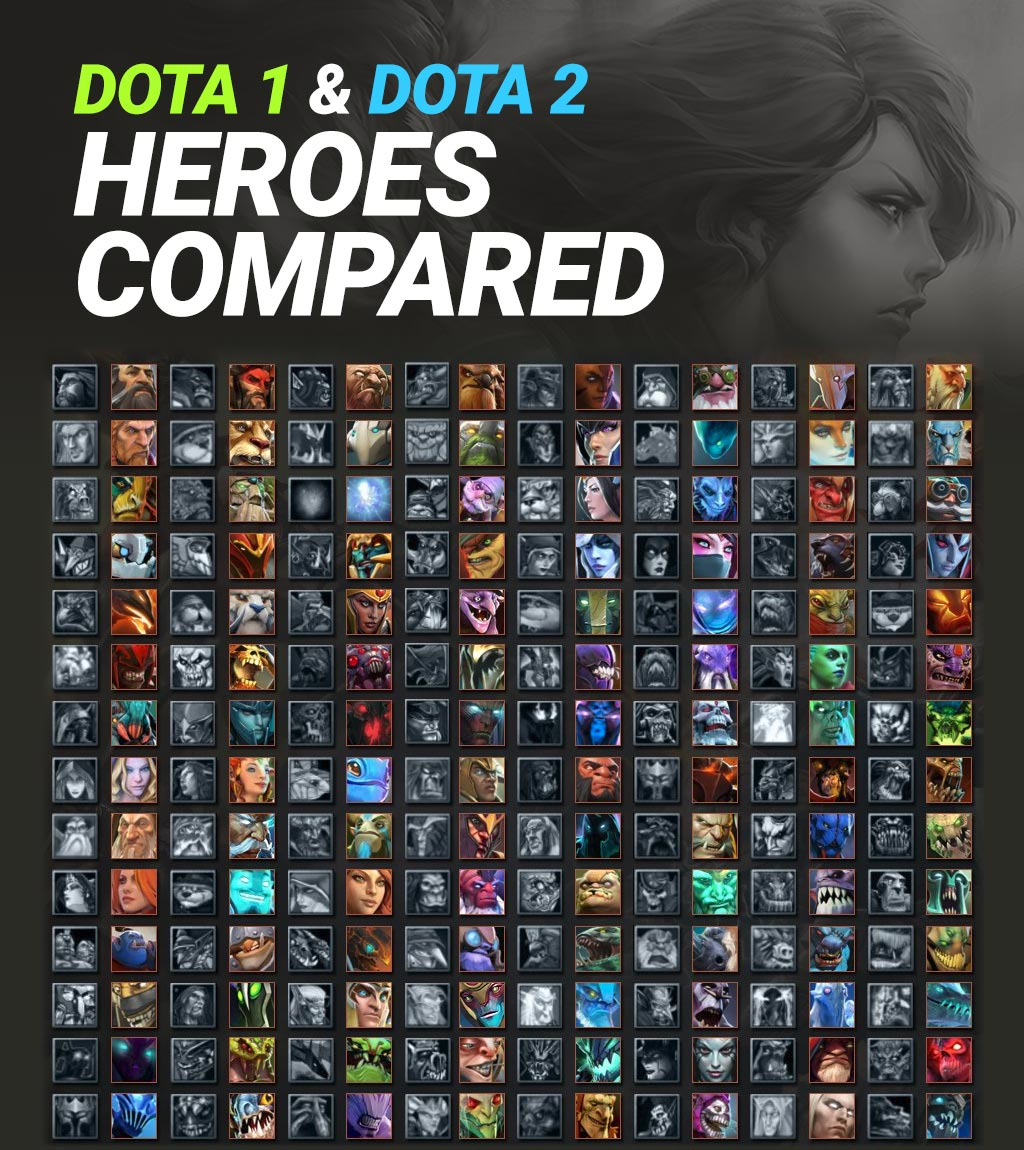 Dota 1 and Dota 2 Heroes compared