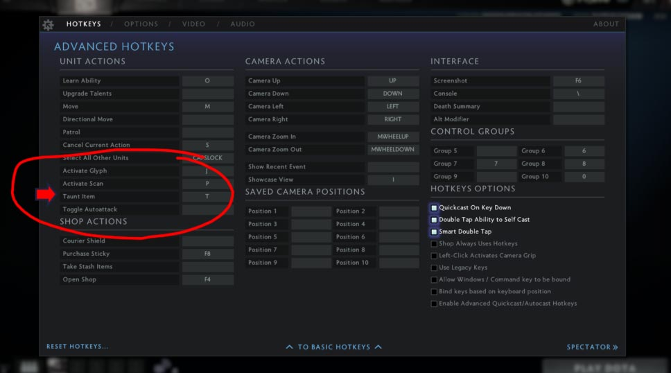Hot to activate Taunts in Dota 2 Menu