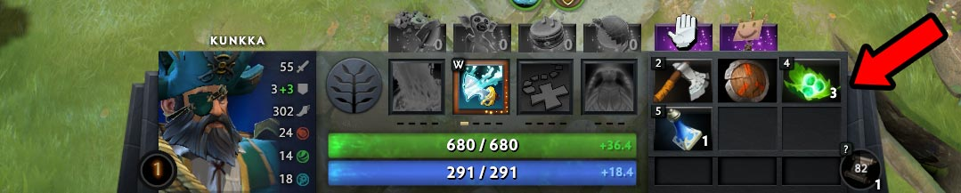 Kunkka Early Game Inventory