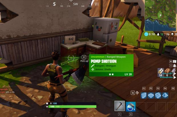 Looting Weapons in Battle Royale