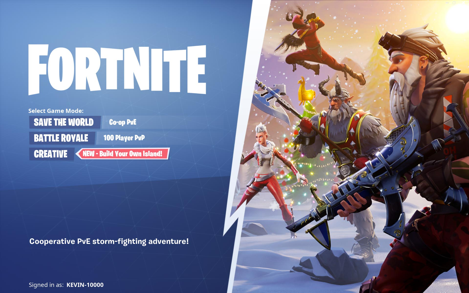 Fortnite choose game mode Screenshot
