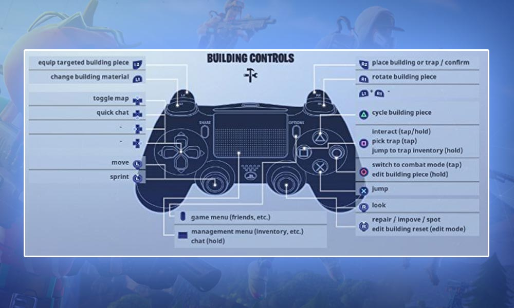Fortnite Playstation Controls and Keys for Builders