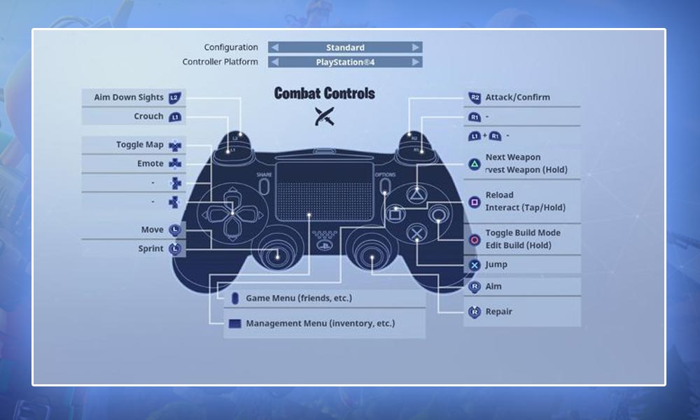 Fortnite Playstation Controls and Keys for Combat
