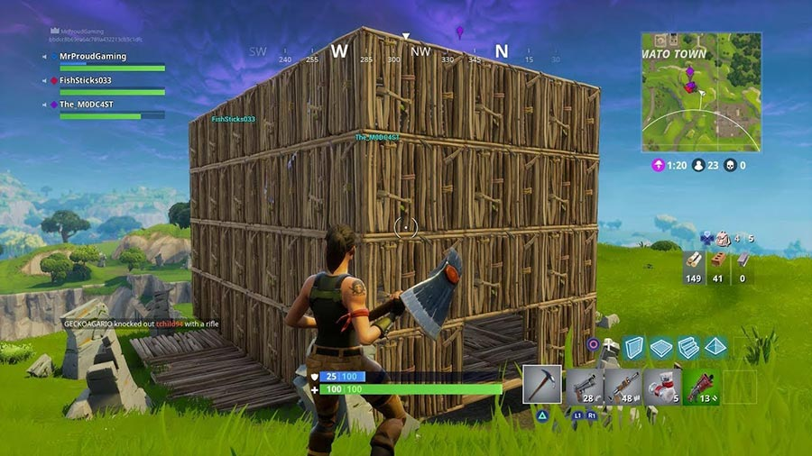 Build multiple Fortnite Wall Layers