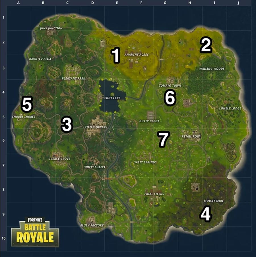 Fortnite Battle Royale Map with Landing Spots