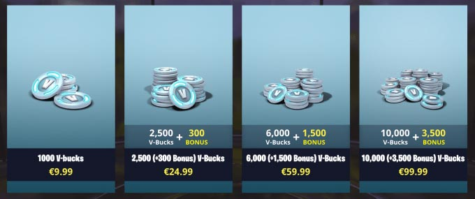 Fortnite Shop V-Bucket Price List