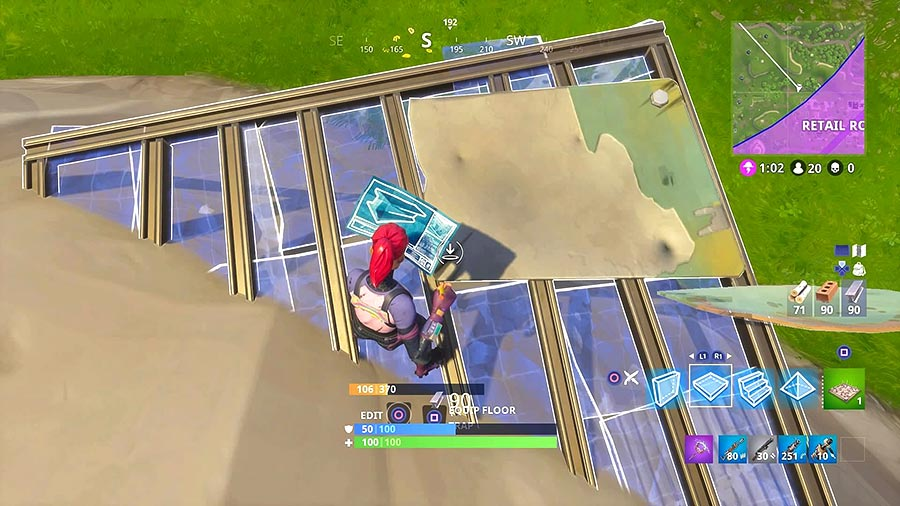 Use a Fortnite construction build while you fall