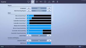 Fortnite Mouse Sensivity Options