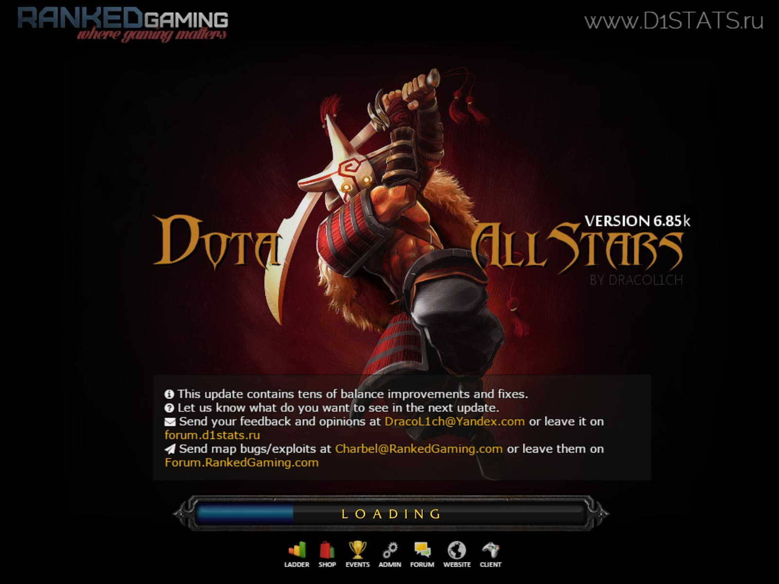 Dota Allstars 6.85k RGC loading screen
