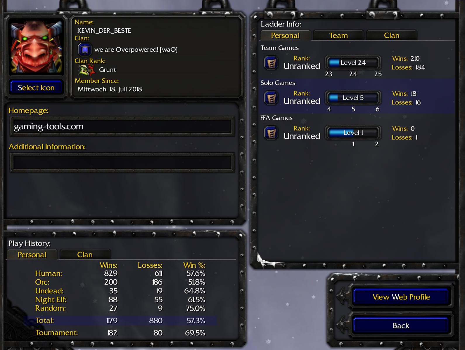 Warcraft 3 Profile