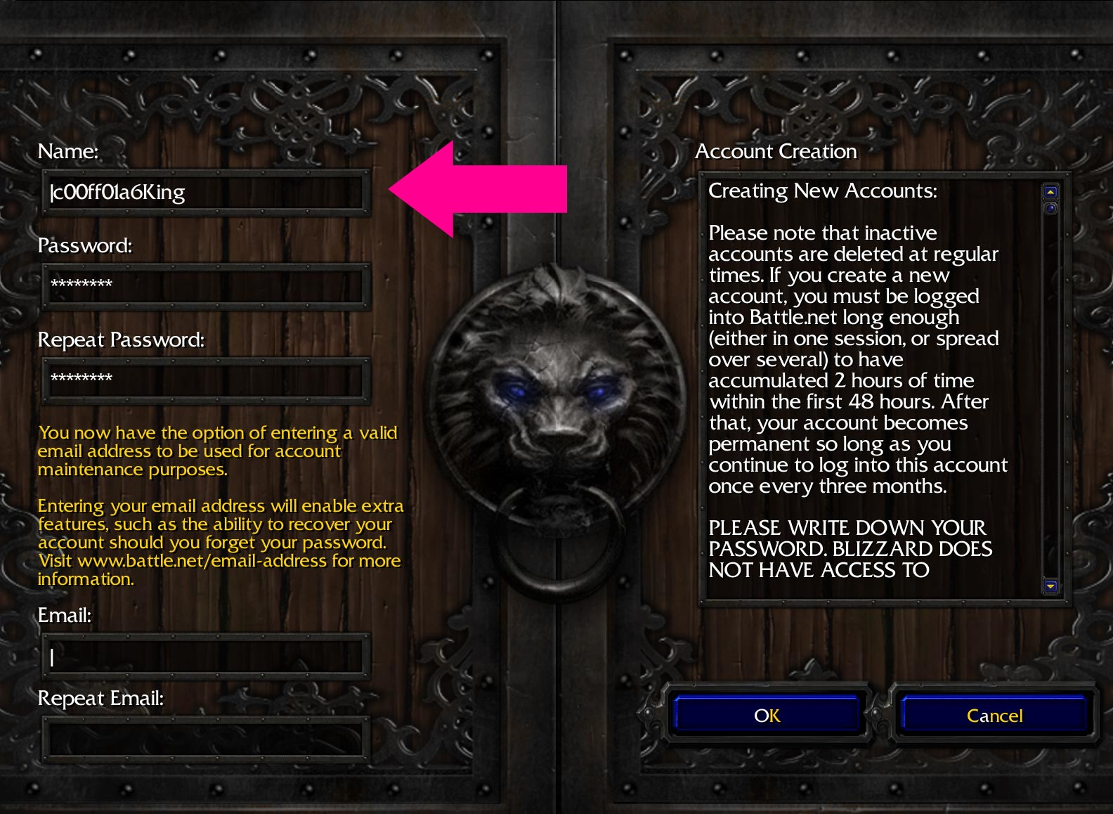 Create a new Warcraft 3 Account with a colored name
