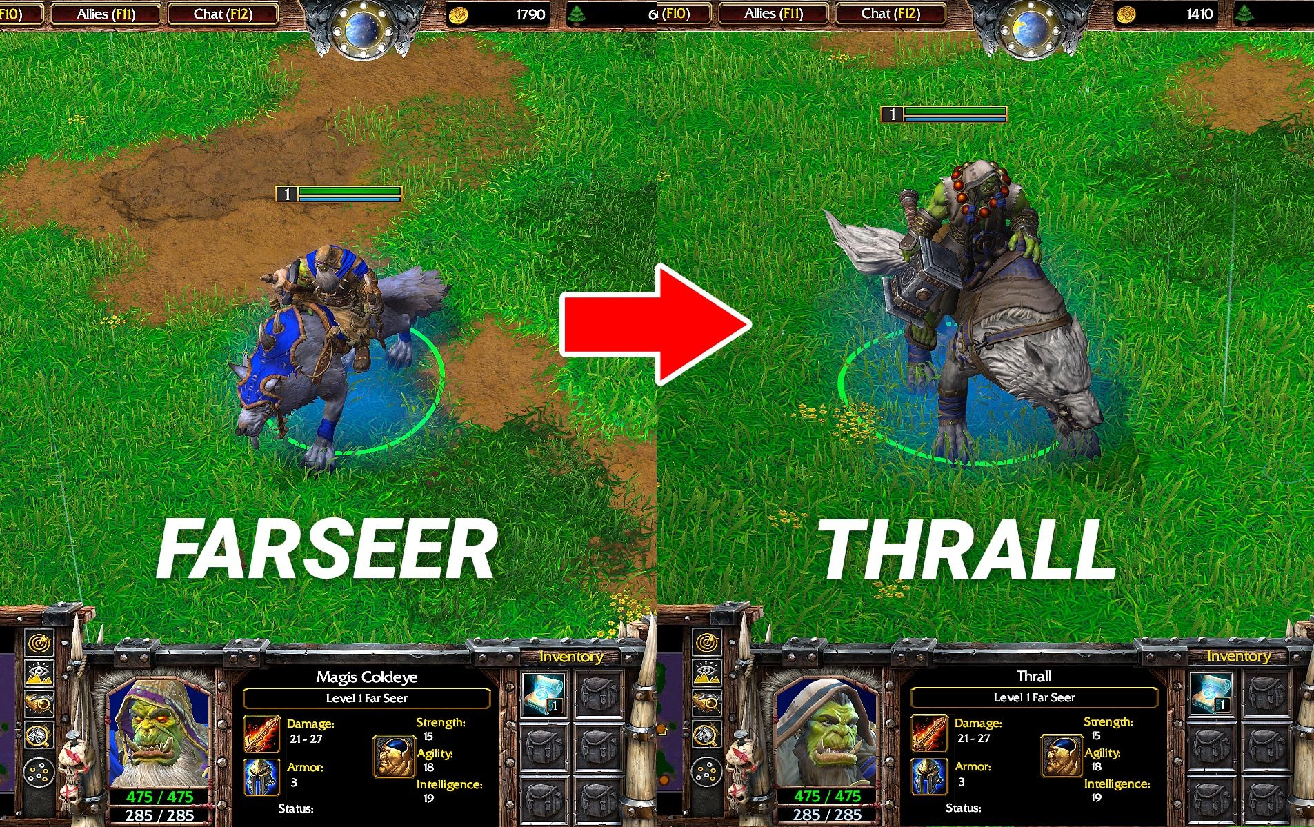 WC3 Reforged Farseer vs Thrall Skin