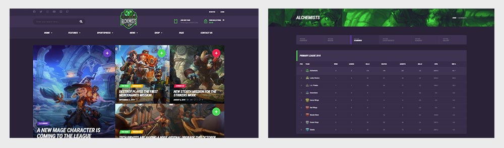 Sports and Esports Standings Theme