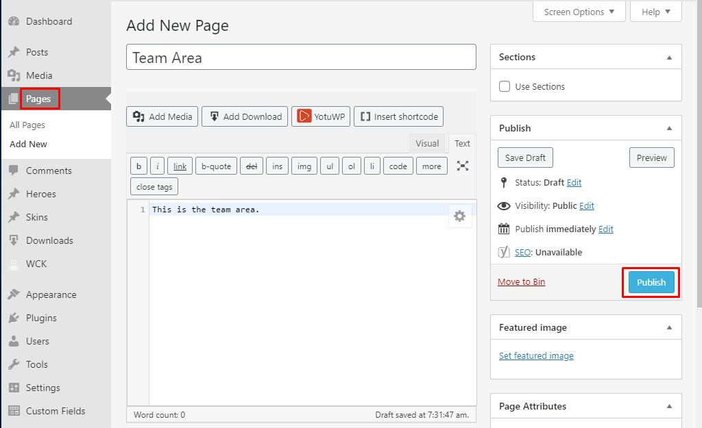 Wordpress how to create pages