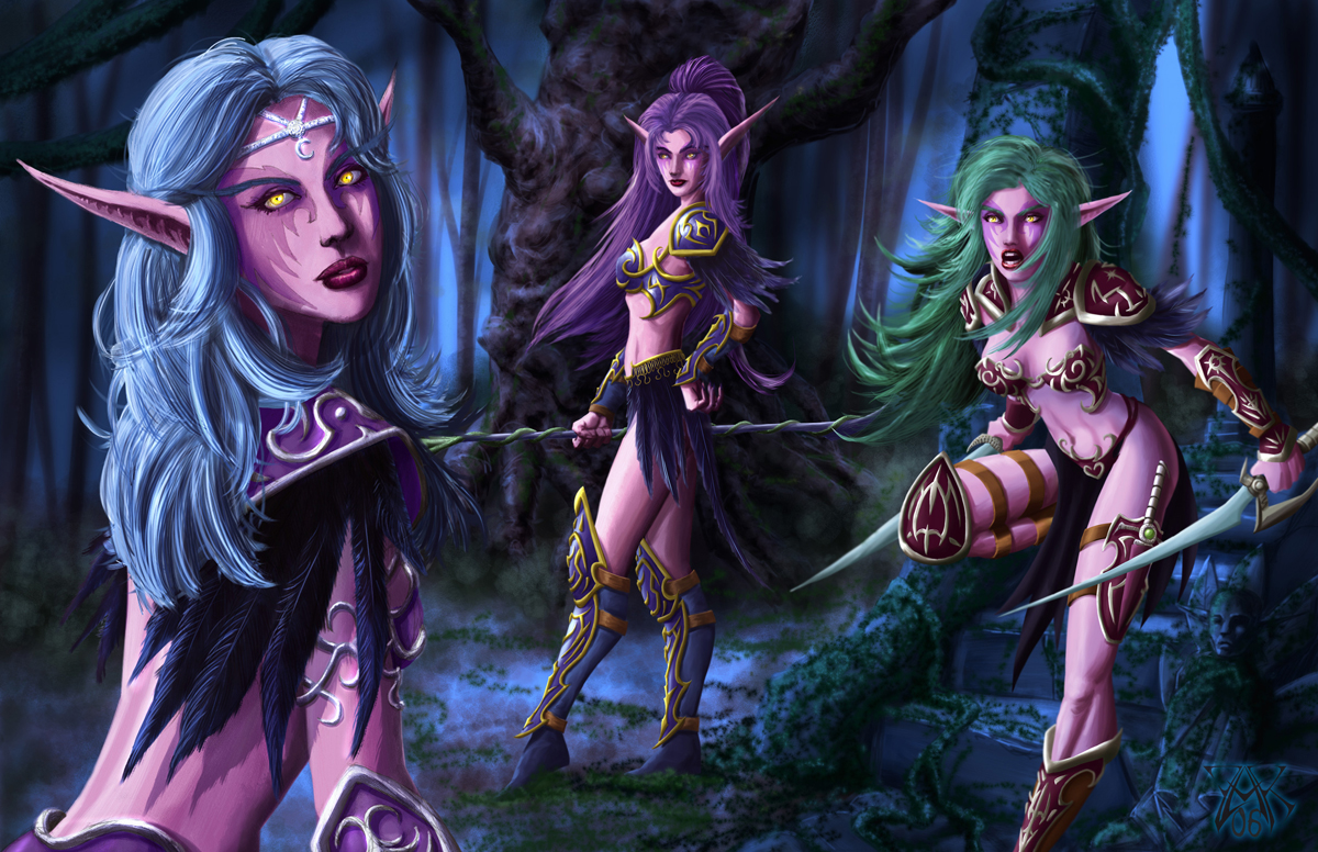 wc3-night-elves-painted-artwork-archer-girl