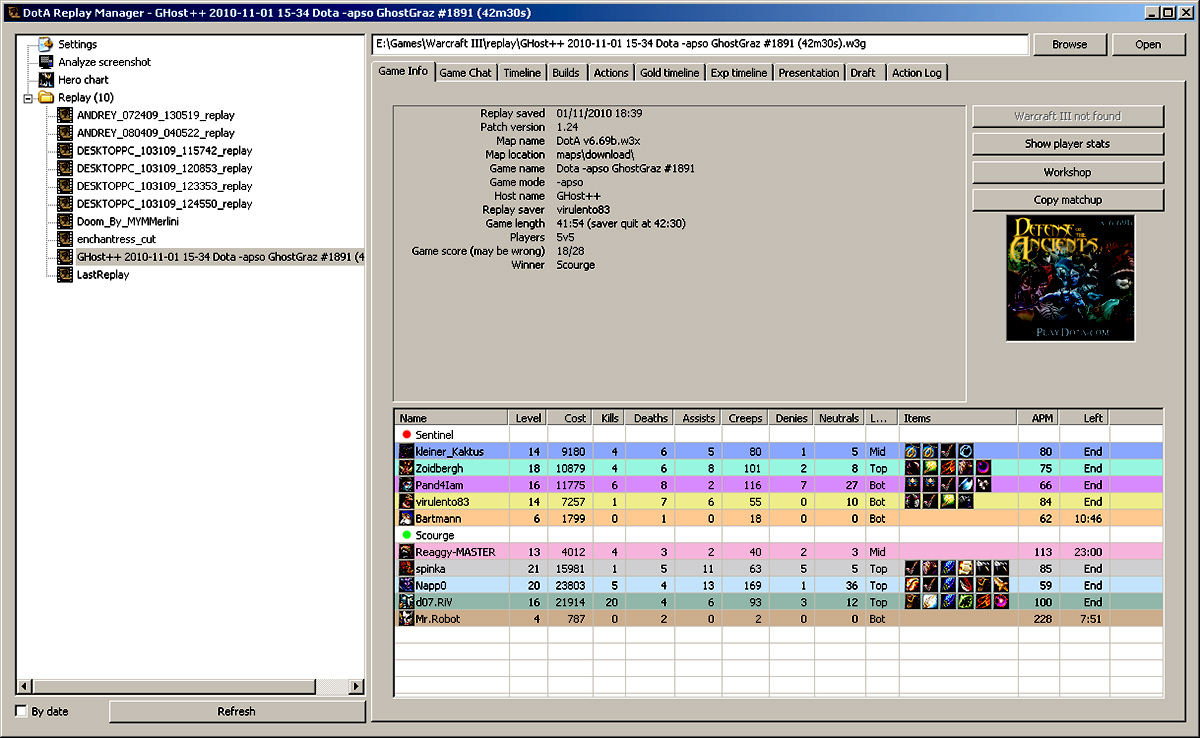 Dota Replay Manager Screenshot